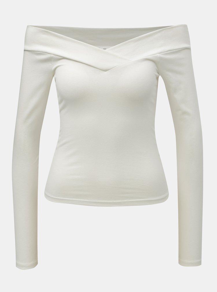 Tricou alb scurt cu decolteu pe umeri Miss Selfridge Cross Over Bardot