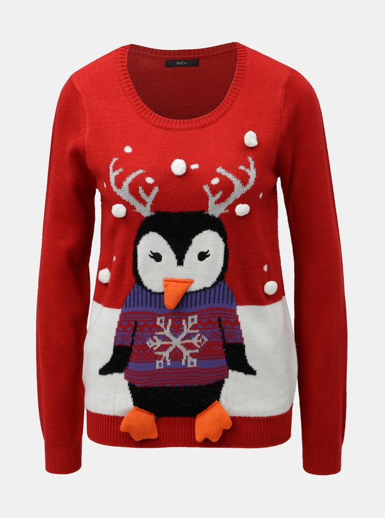 Červený svetr s motivem tučňáka M&Co Family Penguin