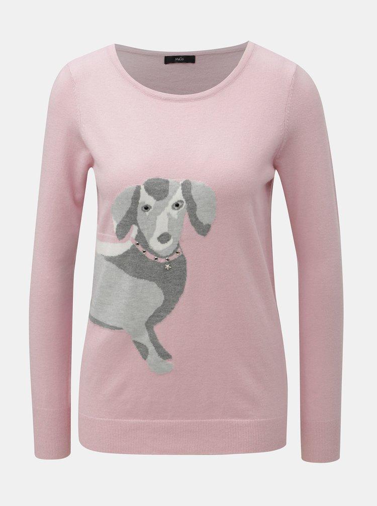 Pulover roz lejer cu motiv teckel M&Co Sausage Dog