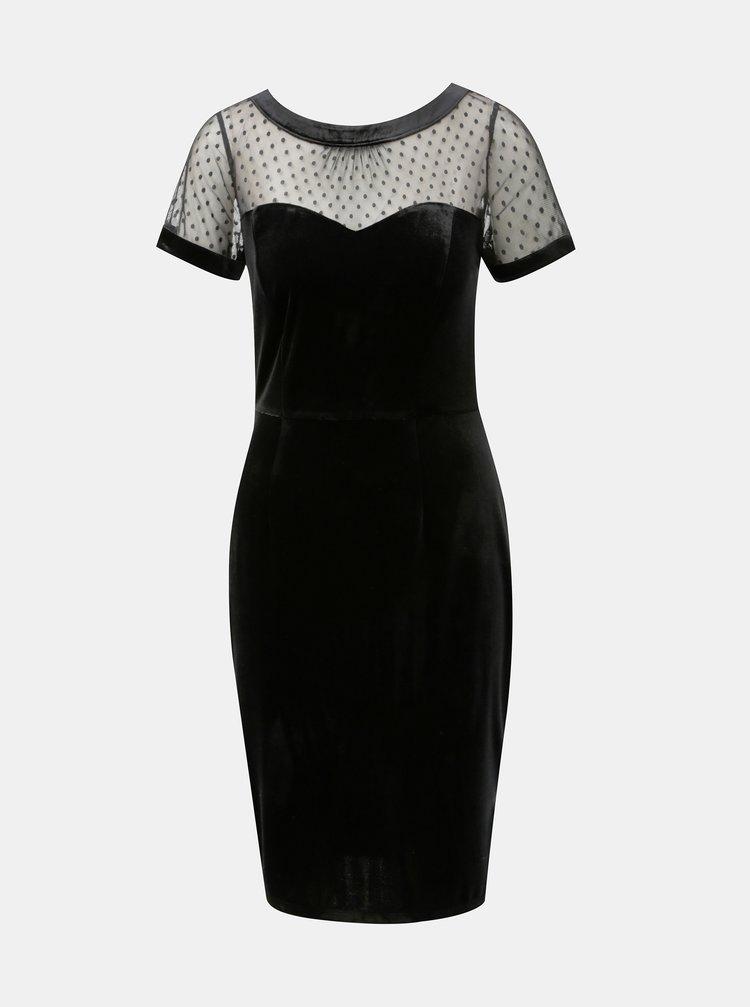 Čierne zamatové puzdrové šaty s priesvitným sedlom M&Co Velvet