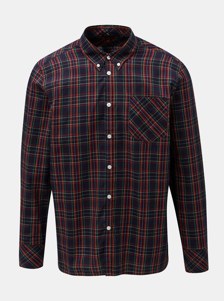 12556aa9c34f ... Červeno–modrá kockovaná košeľa s náprsným vreckom Merc