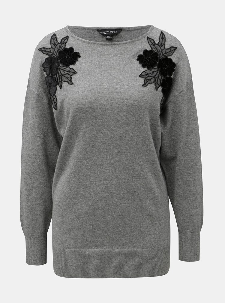 Šedý lehký svetr s nášivkami květin Dorothy Perkins Batwing