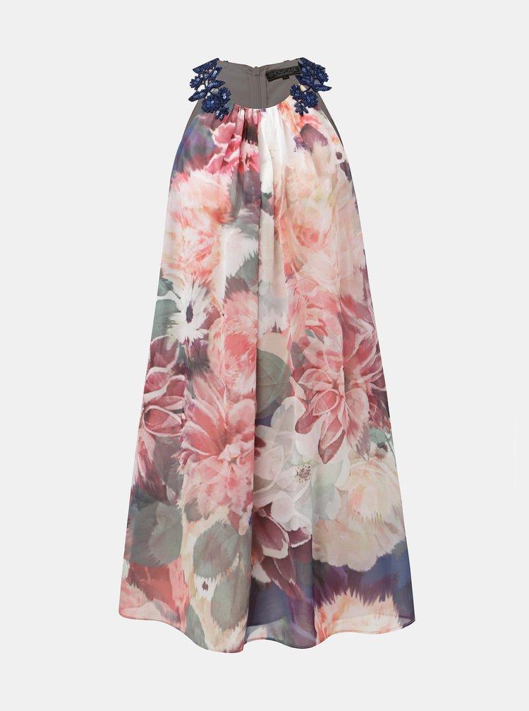 Zeleno-růžové květované šaty s krajkou Dorothy Perkins Allana