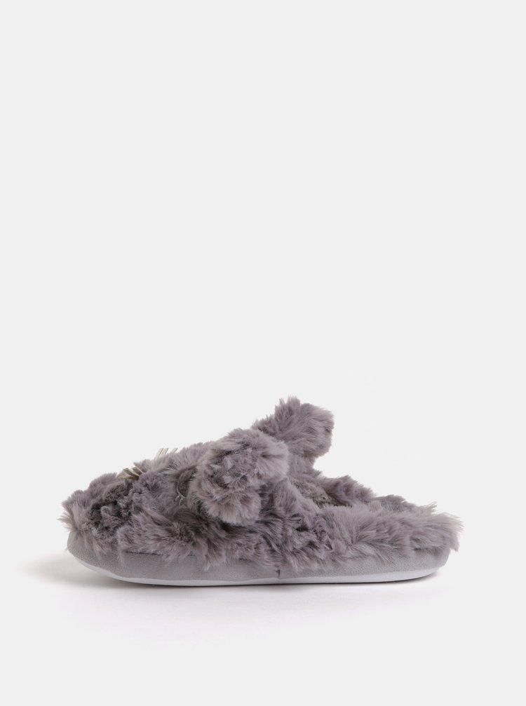 Šedé chlupaté papuče ve tvaru králíka Dorothy Perkins