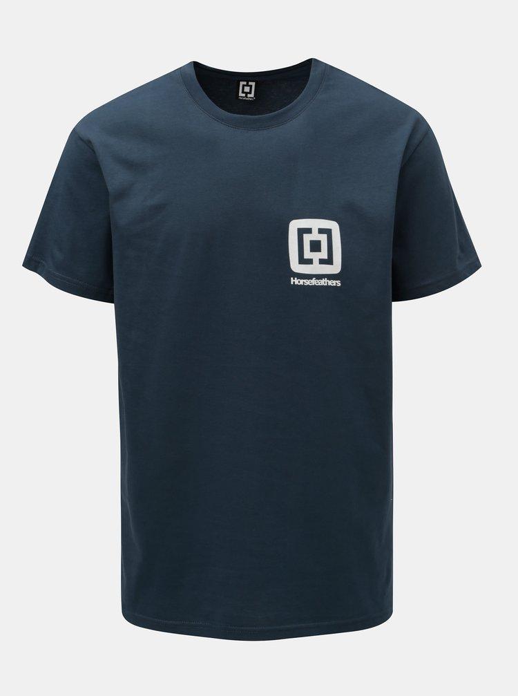 Tricou barbatesc albastru inchis cu imprimeu si maneci scurte Horsefeathers Mini Logo