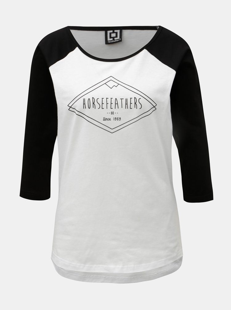 Tricou negru-alb de dama cu maneci 3/4 si imprimeu Horsefeathers Neve