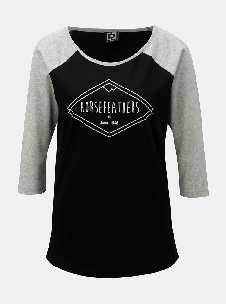 Tricou gri-negru de dama cu maneci 3/4 si imprimeu Horsefeathers Neve
