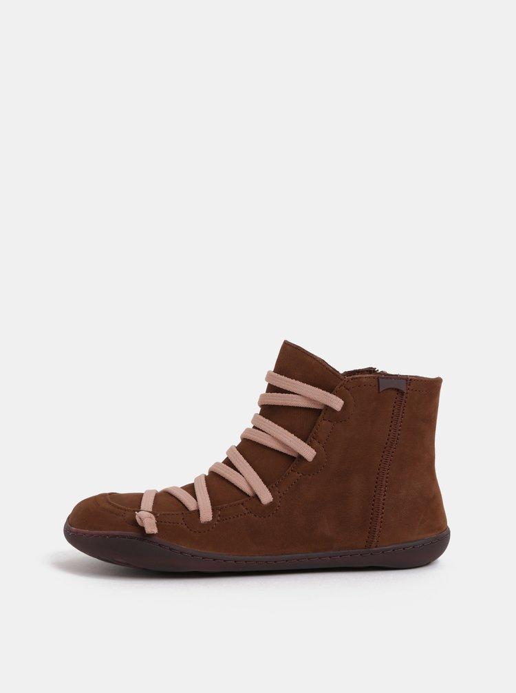 Hnedé dámske kožené členkové topánky Camper Cami Hell