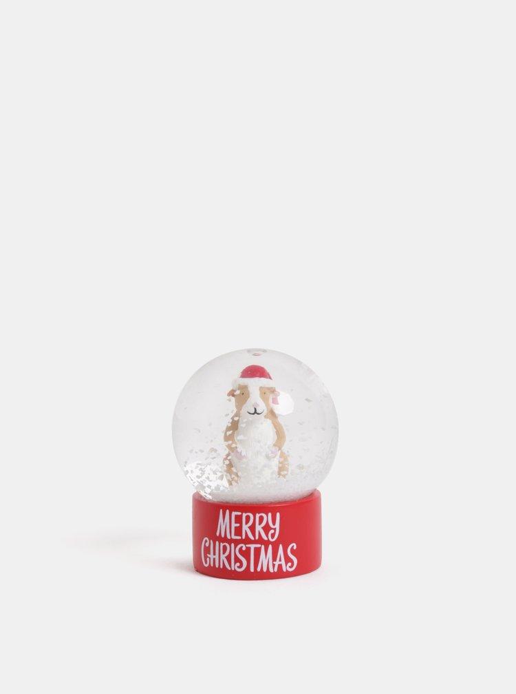 Červené vánoční sněžítko s motivem morčete Cath Kidston