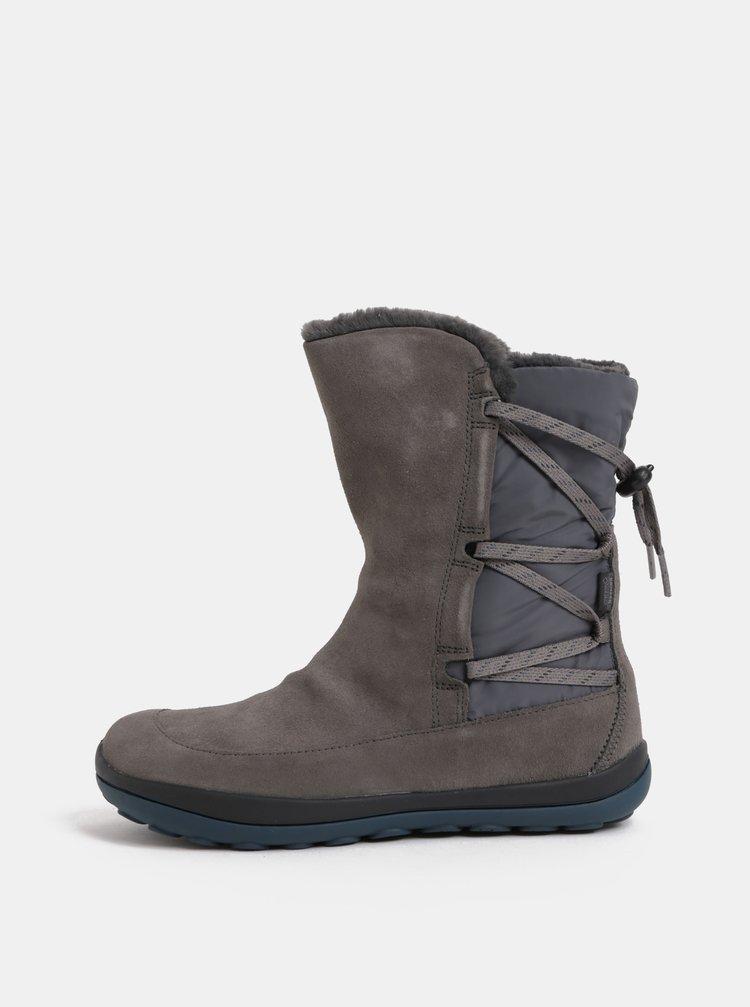 192a5f54bf0ba ... Sivé dámske semišové členkové topánky s vnútornou umelou kožušinkou  Camper Peu Pista