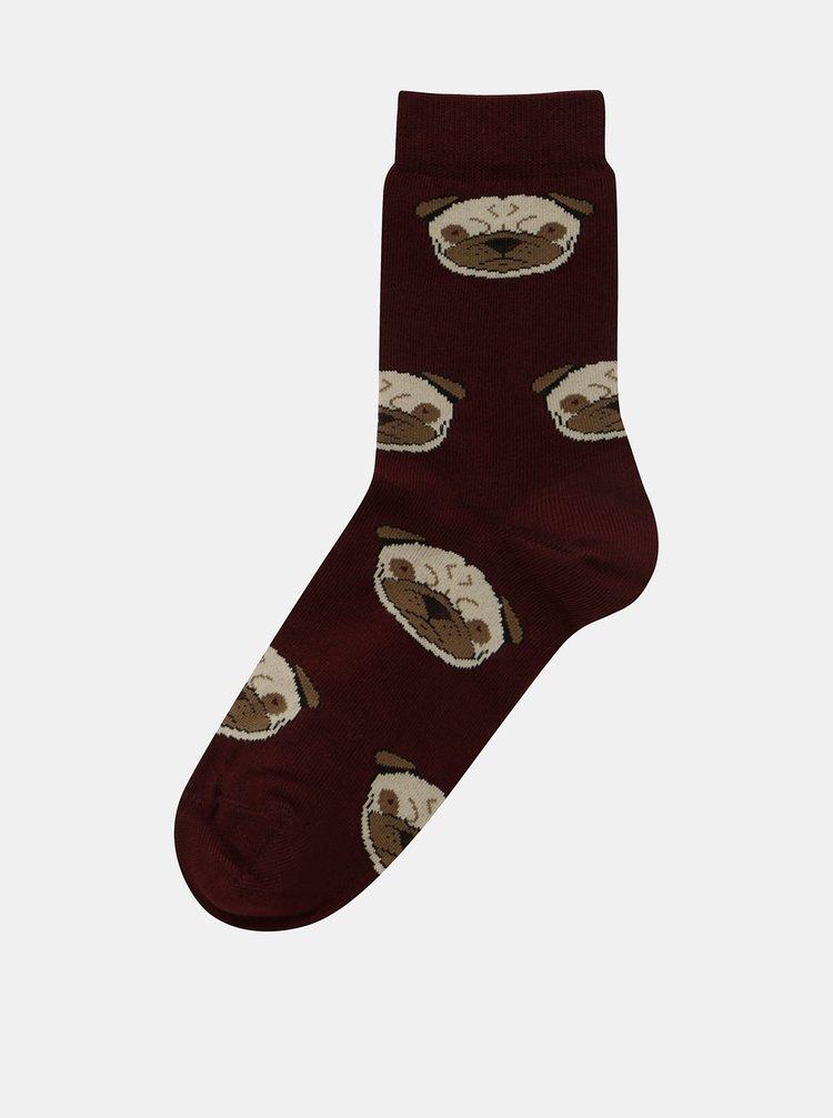 Vínové dámské ponožky s motivem psů ZOOT