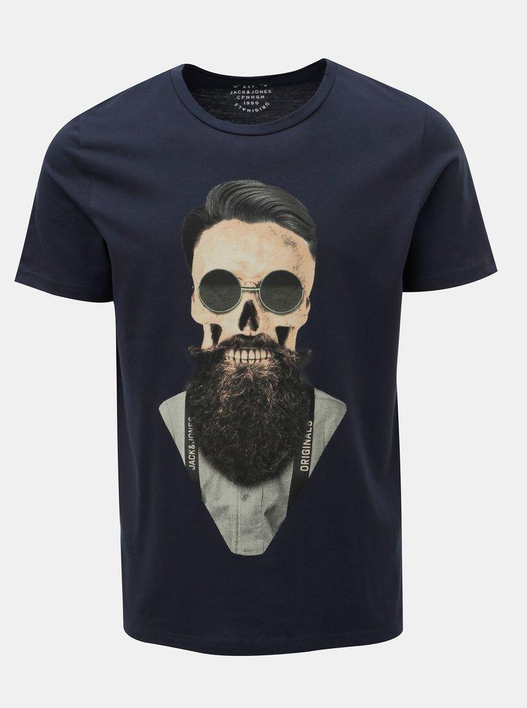 Tmavě modré tričko s potiskem lebky Jack & Jones Art