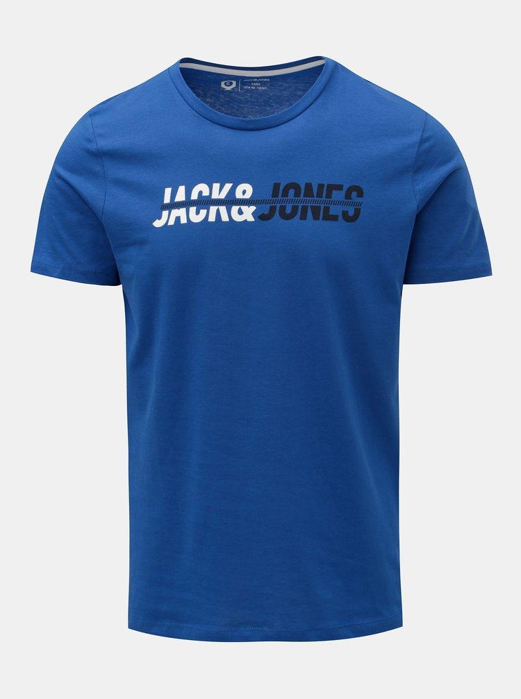 Tricou albastru cu inscriptie Jack & Jones Linn