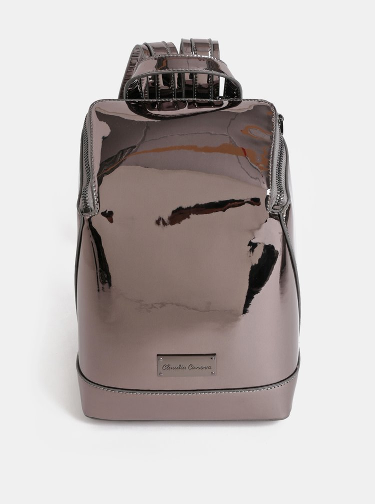 Tmavosivý lesklý batoh s metalickými odleskmi Claudia Canova Valentina