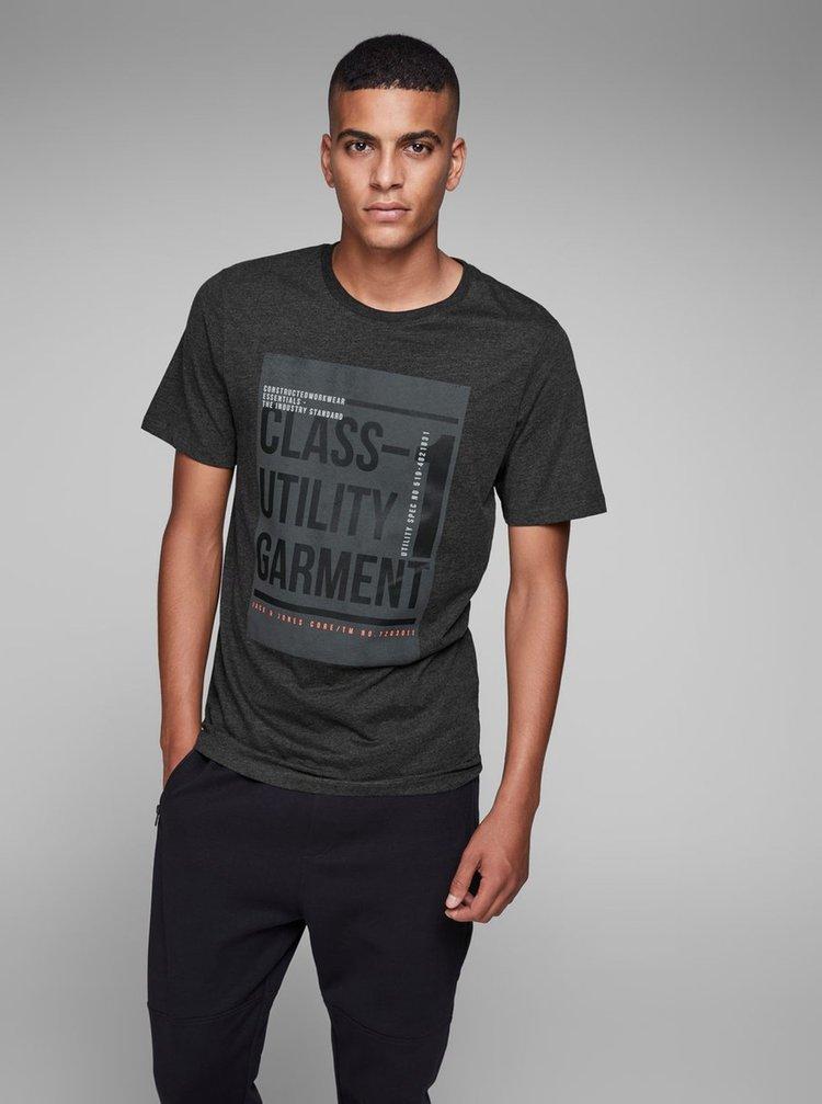 Tmavě šedé žíhané tričko s potiskem Jack & Jones Denim