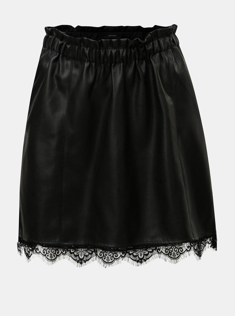 Černá koženková sukně s krajkovým detailem VERO MODA Lacy
