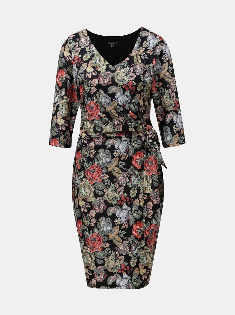 Černé květované šaty s mašlí na boku Smashed Lemon