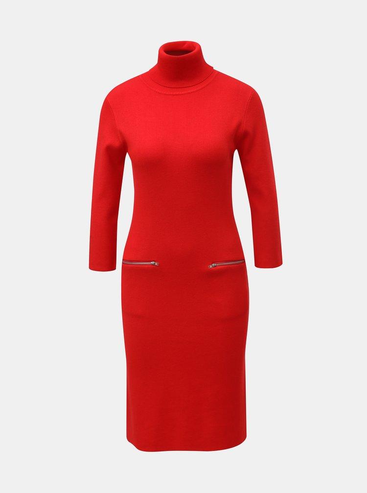 Červené svetrové šaty s rolákem Smashed Lemon