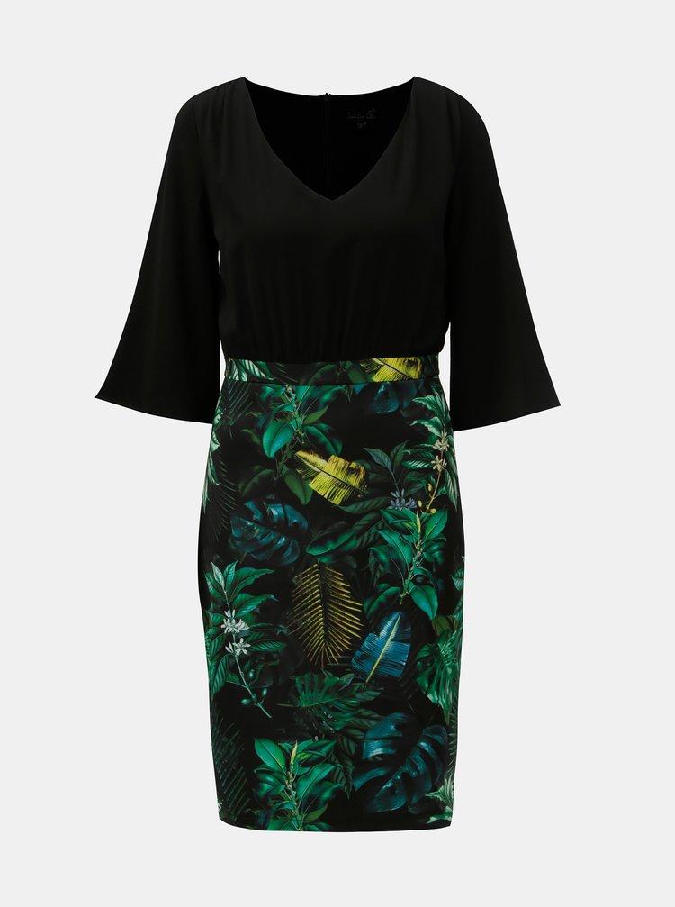 Zeleno-černé pouzdrové šaty s motivem listů Smashed Lemon