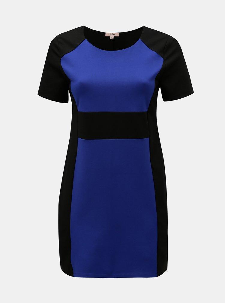 Modro-černé šaty s krátkým rukávem La Lemon