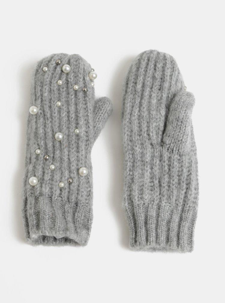 Světle šedé palčáky s perličkami Pieces Felia