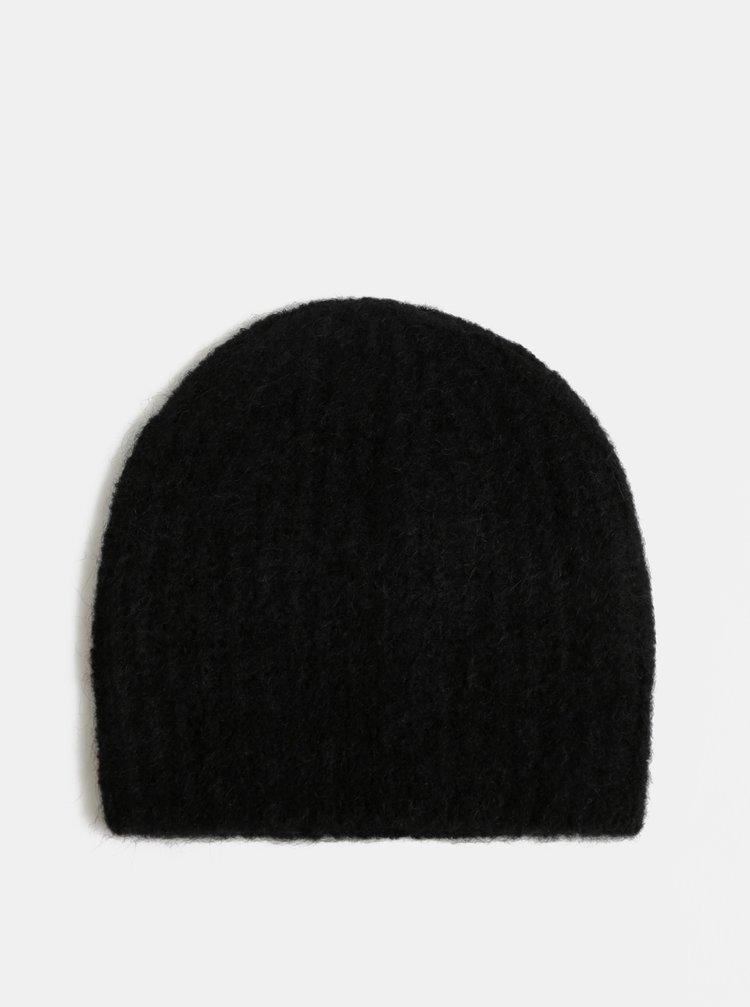 Černá vlněná čepice Pieces Fluffy