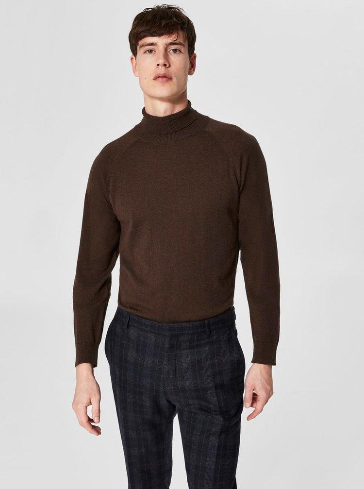 Tmavohnedý sveter s rolákom z merino vlny a prímesou hodvábu Selected Homme New Blade