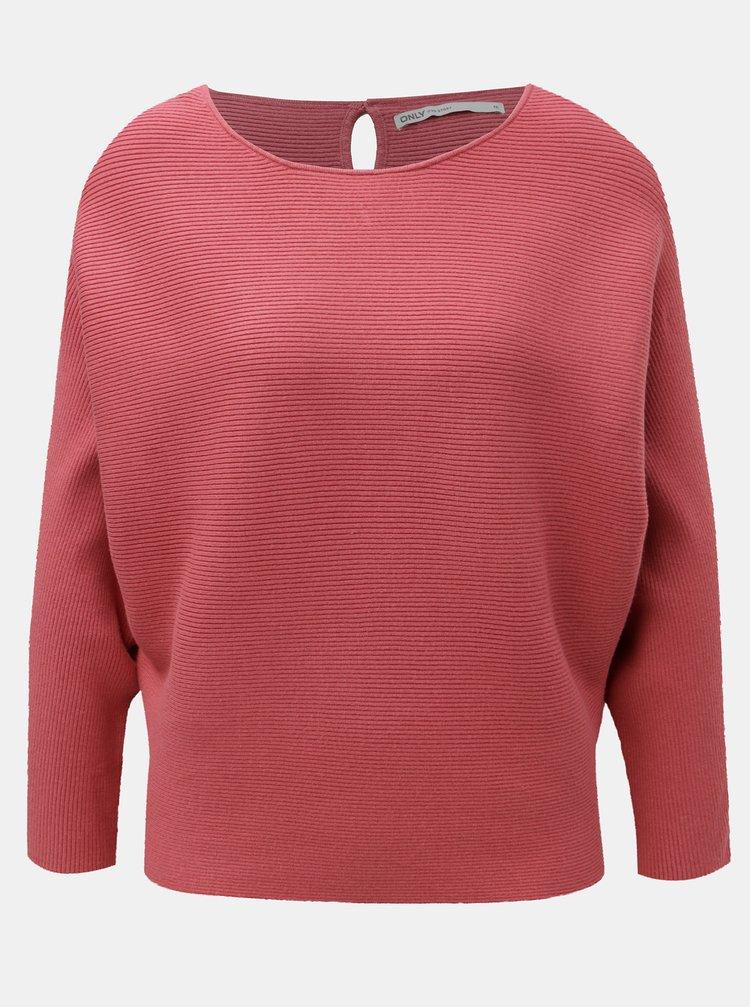 Ružový tenký sveter s netopierími rukávmi ONLY Vita