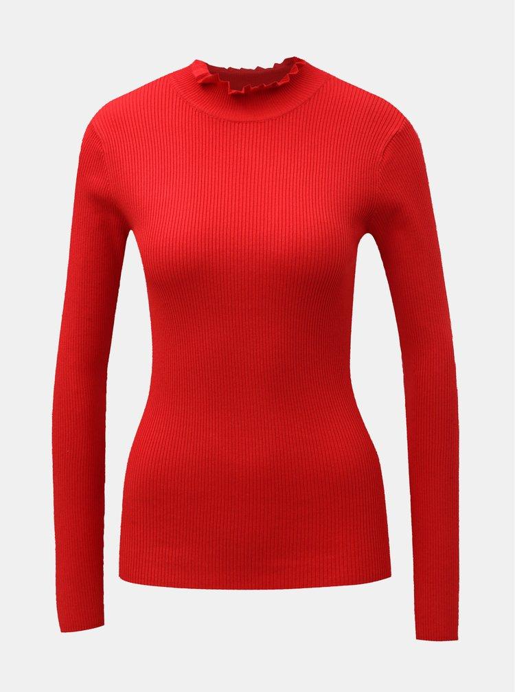 Červené rebrované tričko so stojačikom Jacqueline de Yong Plum