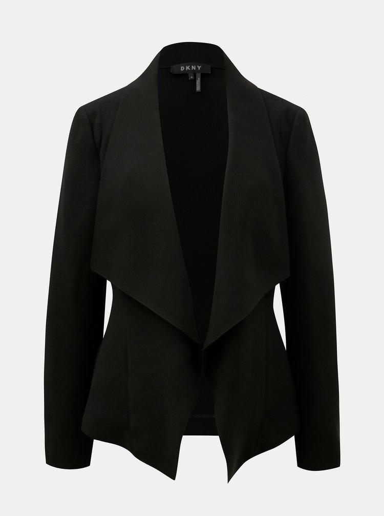 Čierne sako s vreckami DKNY Drape