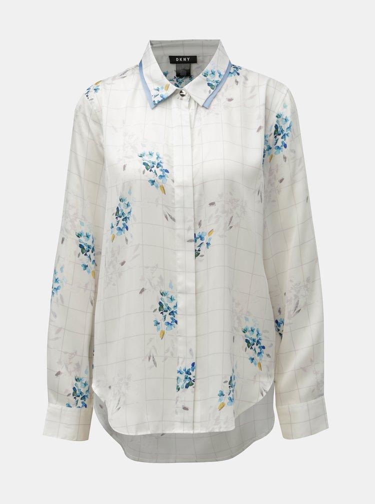 Modro-bílá kostkovaná květovaná košile DKNY