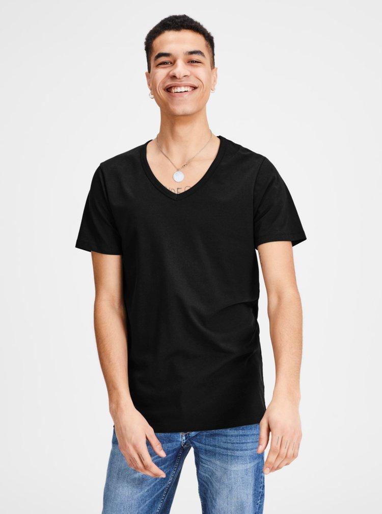 Čierne tričko s véčkovým výstrihom Jack & Jones Basic