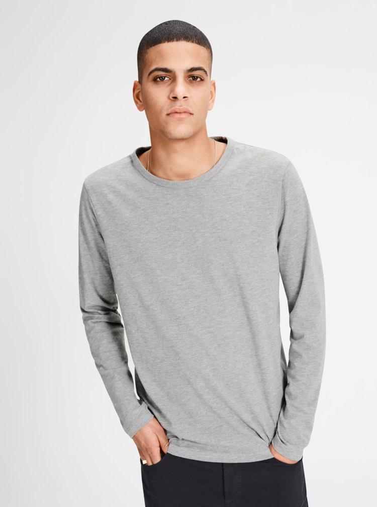 Sivé melírované tričko s dlhým rukávom Jack & Jones Basic