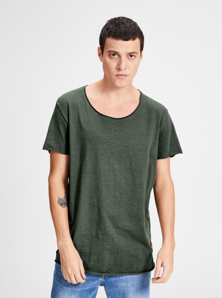 Khaki basic tričko Jack & Jones Bas