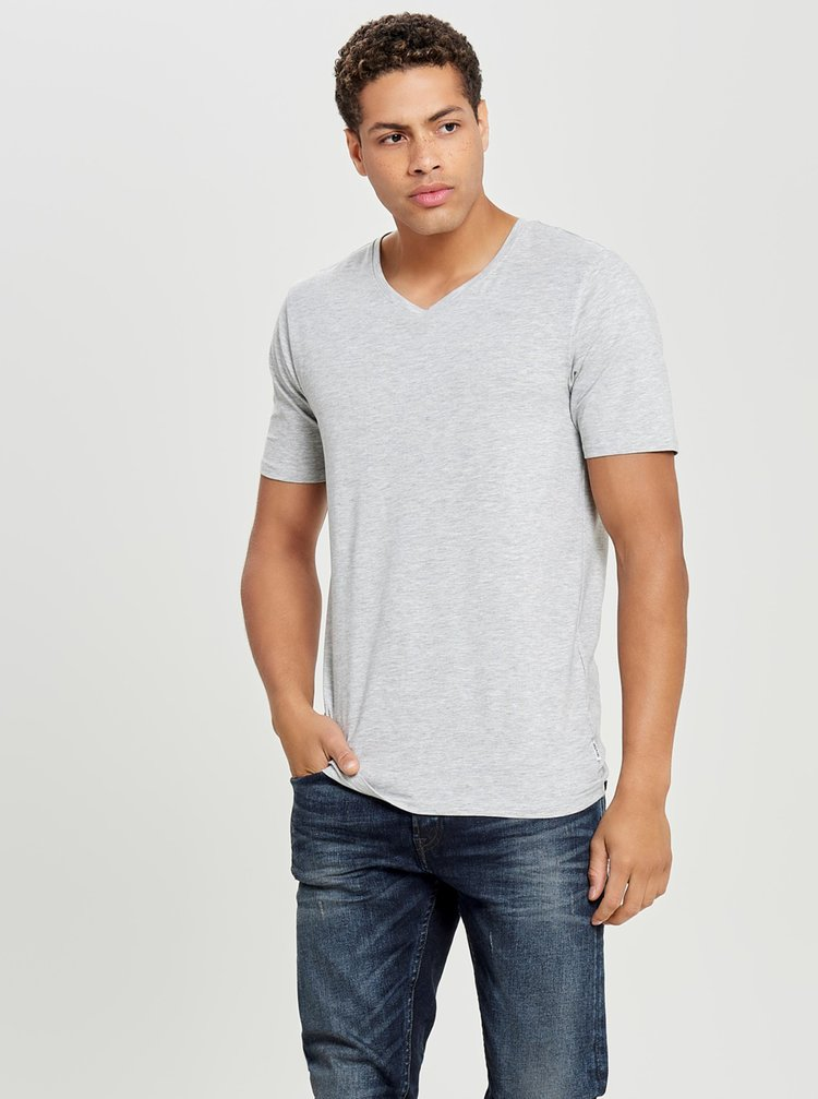 Tricou basic gri melanj - ONLY & SONS Basic