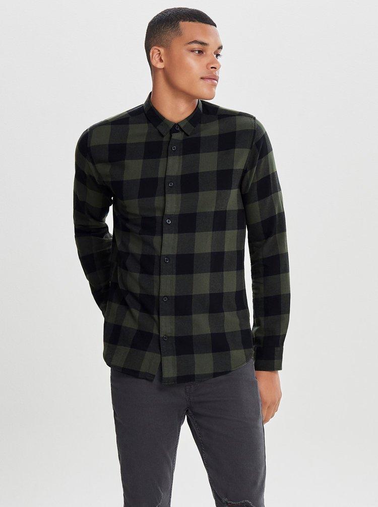 Čierno-zelená kockovaná slim košeľa s dlhým rukávom ONLY & SONS Gudmund