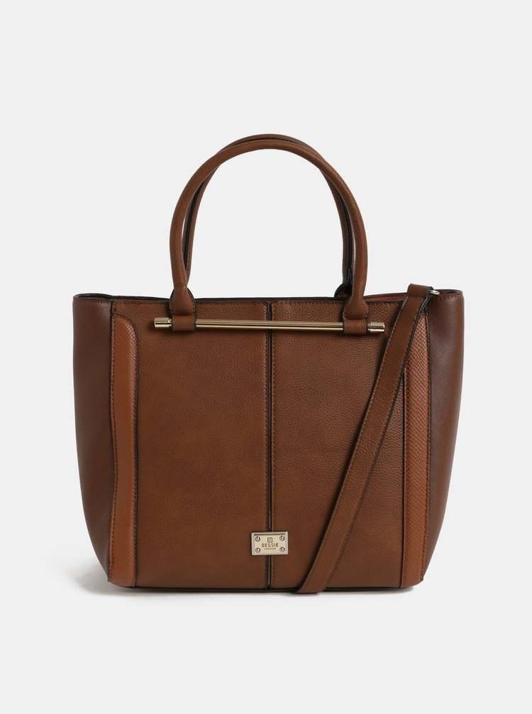 ... Hnedá veľká kabelka s detailmi v zlatej farbe Bessie London a7a15528f1a