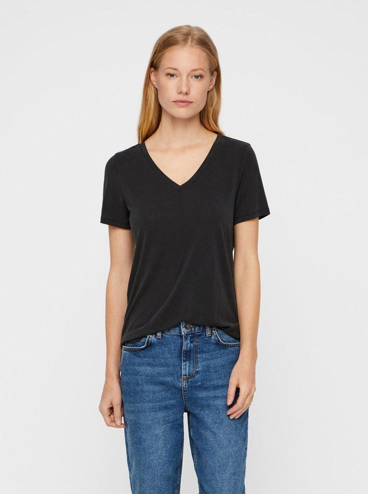 Černé basic tričko s véčkovým výstřihem Noisy May Allen