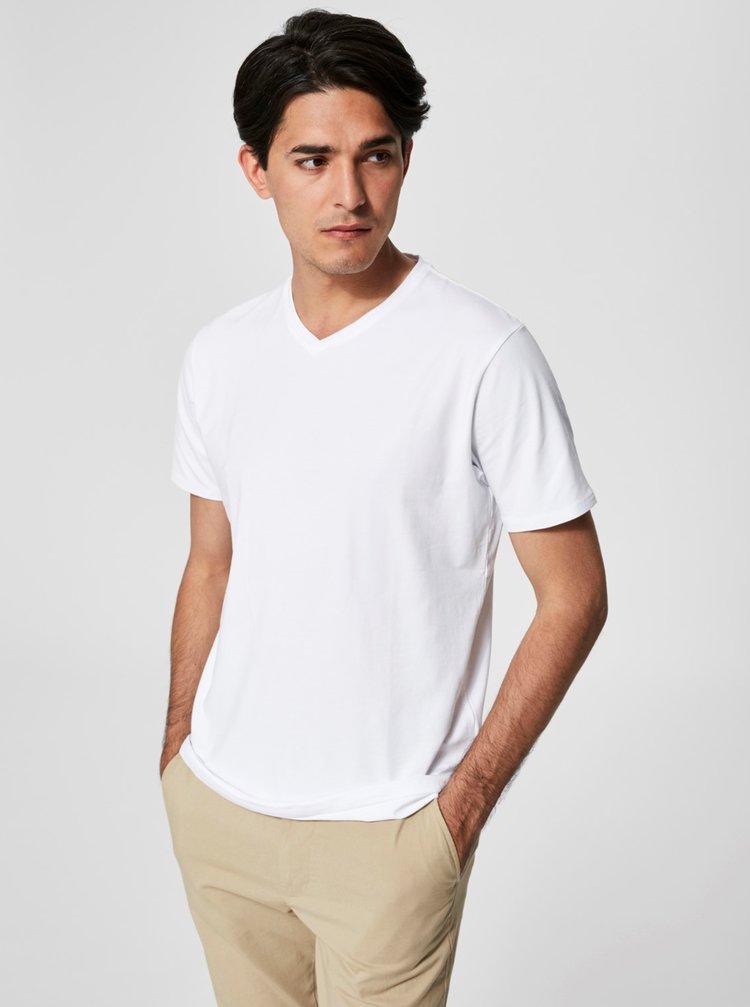 Bílé basic tričko s véčkovým výstřihem Selected Homme Pima