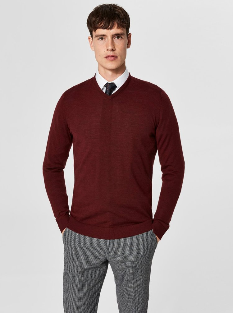 Vínový vlněný lehký basic svetr Selected Homme