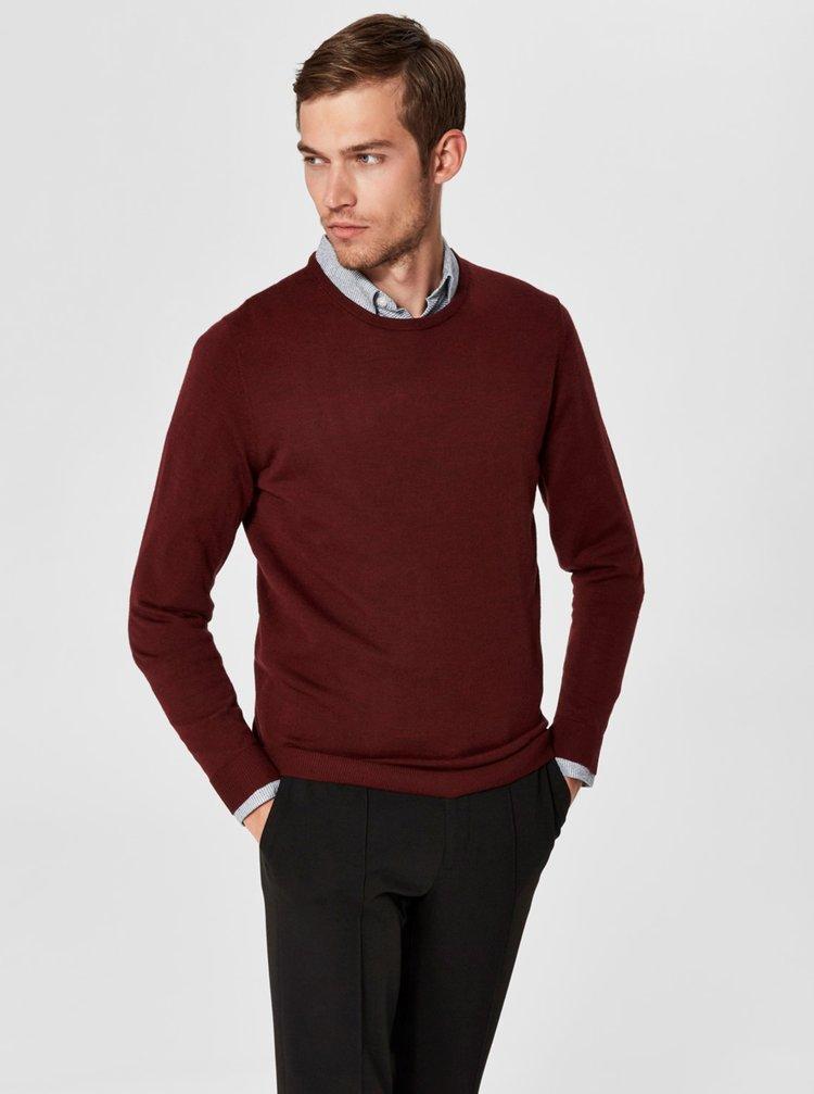 Vínový vlnený tenký sveter s okrúhlym výstrihom Selected Homme