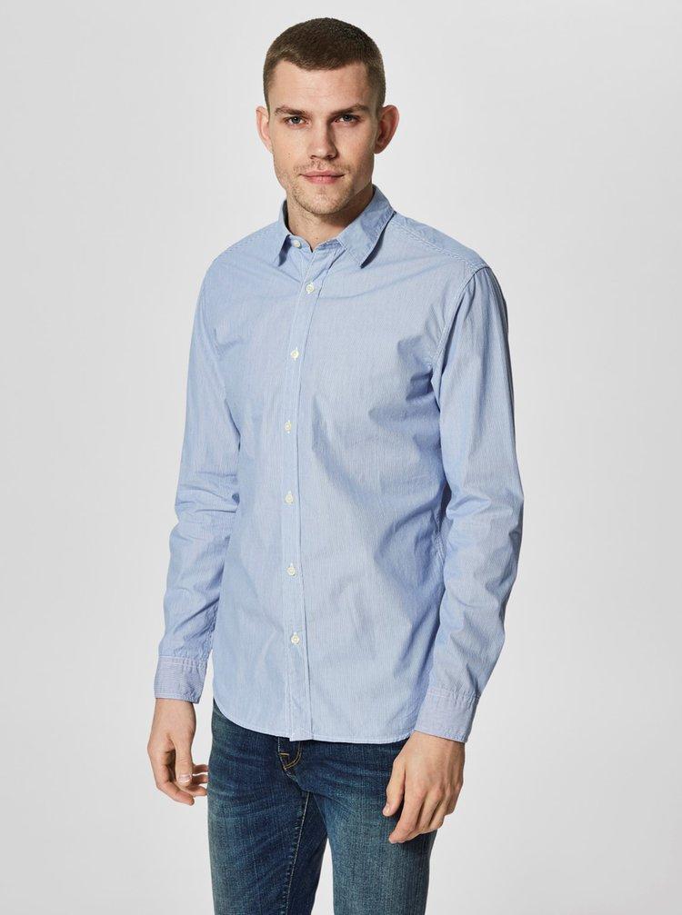 Světle modrá pruhovaná formální slim fit košile Selected Homme