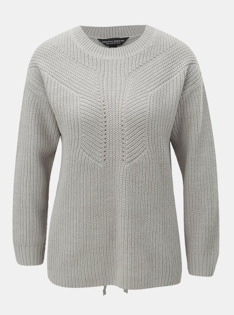 Sivý sveter so šnurovaním na chrbte Dorothy Perkins