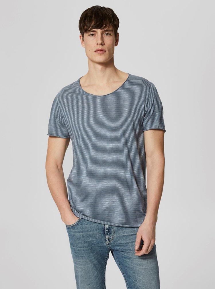 Modré pruhované tričko Selected Homme Newmerce
