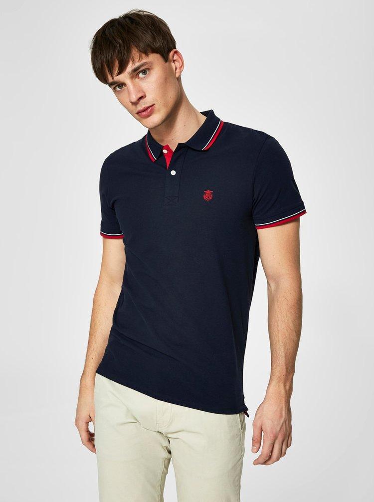 Tricou polo bleumarin cu broderie - Selected Homme Newseason