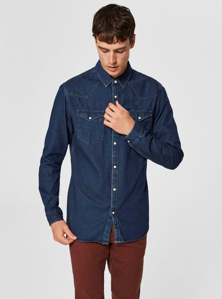 Tmavě modrá džínová slim fit košile Selected Homme