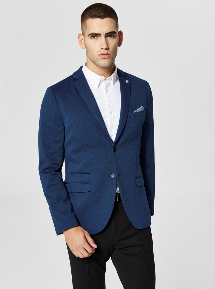 Modré oblekové sako Selected Homme