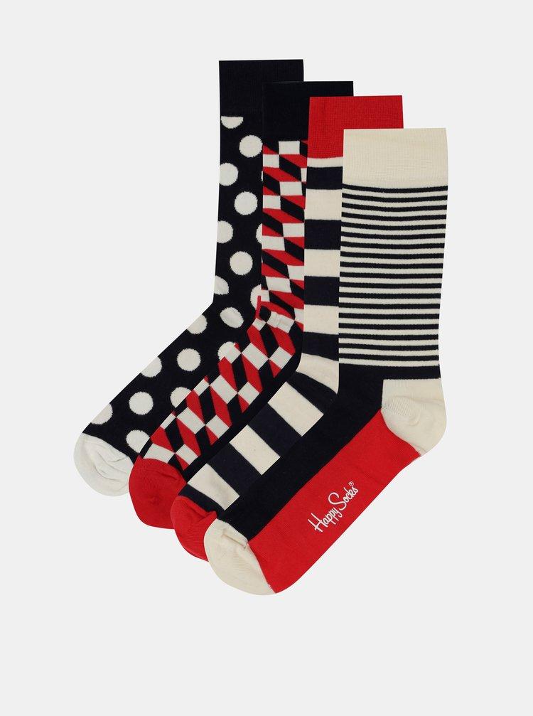 Sada čtyř párů ponožek v červené, modré a krémové barvě Happy Socks Big Dot Gift Box