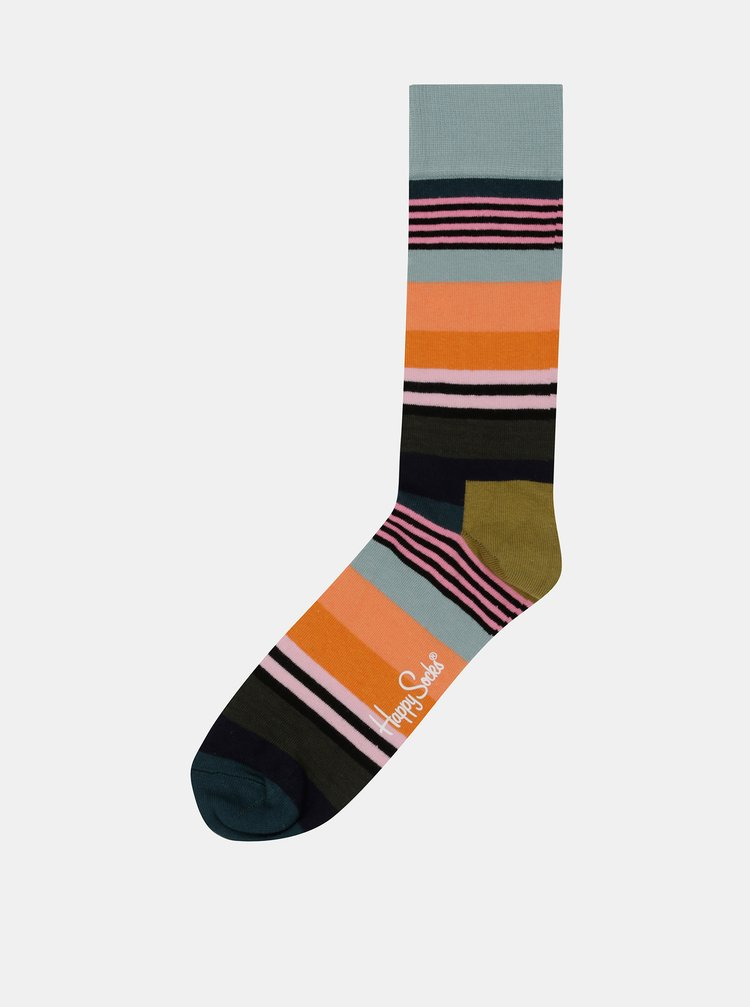 Sosete barbatesti albastru-oranj Happy Socks Multi Stripe