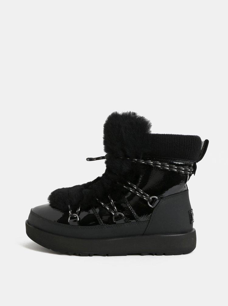 Černé voděodolné kožené zimní boty s umělým kožíškem UGG Highland